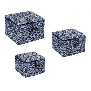 Κουτιά αποθήκευσης σε μπλε χρώμα σετ των τριών τεμαχίων σε διαφορετικά μεγέθη