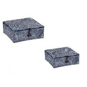 Τετράγωνα κουτιά αποθήκευσης σε μπλε χρώμα σετ των δύο τεμαχίων 23 και 20 εκ