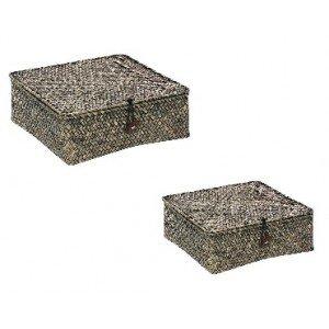 Τετράγωνα κουτιά αποθήκευσης σε καφέ χρώμα σετ των δύο τεμαχίων 23 και 20 εκ