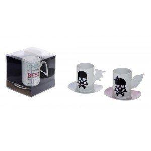 Μοντέρνο σετ φλιτζανάκια espresso και πιατάκια με σχέδιο κρανίο 7 εκ