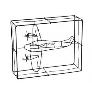 Χειροποίητο αεροπλάνο διακοσμητικό από σύρμα σε μαύρο χρώμα 26x21x8 εκ