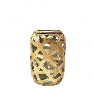 Διακοσμητικό κεραμικό φανάρι σε χρυσό χρώμα σετ των δύο τεμαχίων 16x24 εκ