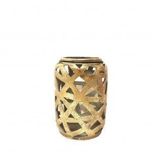 Διακοσμητικό κεραμικό φανάρι σε χρυσό χρώμα σετ των τεσσάρων τεμαχίων 14x21 εκ