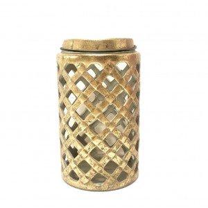 Κεραμικό φανάρι σε χρυσή απόχρωση με καπάκι 18x31 εκ
