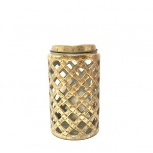 Κεραμικό φανάρι σε χρυσή απόχρωση με καπάκι σετ των δύο τεμαχίων 15x25 εκ