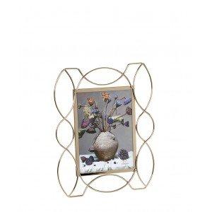 Κορνίζα διακοσμημένη με χρυσής απόχρωσης σχήματα για φωτογραφία 10x15 εκ