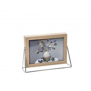 Minimal κορνίζα ξύλινη με ασημί βάση για φωτογραφία 10x15 εκ