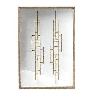 Επιτοίχιος καθρέπτης με χρυσά σχέδια στο εσωτερικό του 60x3x70 εκ