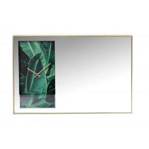 Boho καθρέπτης με ρολόι σε πράσινο χρώμα 60x5x40 εκ