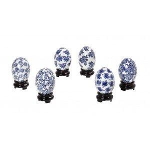 Πορσελάνινα μπλε αυγά σετ των έξι τεμαχίων 8 εκ