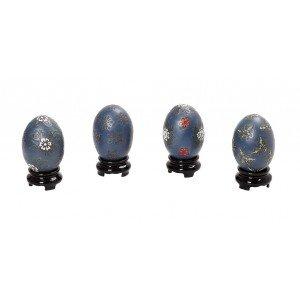Πορσελάνινα μπλε αυγά με σχέδια σετ των τεσσάρων τεμαχίων 5x7 εκ
