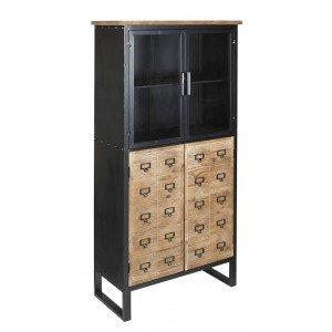 Industrial βιτρίνα από ξύλο και μέταλλο 73x36x155 εκ