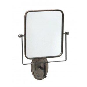 Επιτοίχιος μεταλλικός καθρέπτης τετράγωνος σε καφέ απόχρωση 33x13x47 εκ