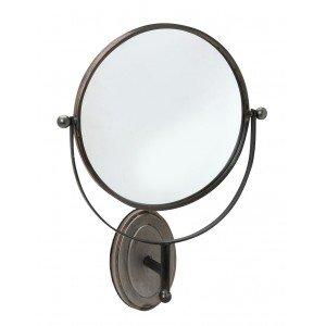 Επιτοίχιος μεταλλικός καθρέπτης στρογγυλός σε καφέ απόχρωση 35x50 εκ