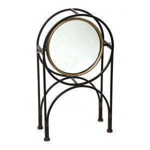 Επιτραπέζιος μεταλλικός καθρέπτης σε χάλκινη απόχρωση 10x26x44 εκ