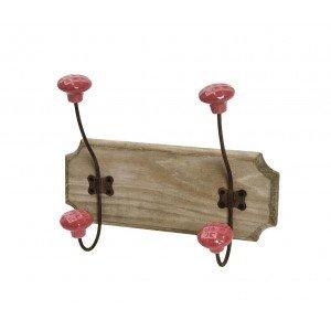 Επιτοίχια ξύλινη κρεμάστρα σε ρομαντικό στυλ δύο θέσεων 15x11x20 εκ