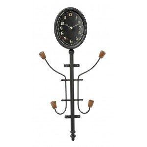 Μαύρη κρεμάστρα επιτοίχια και ρολόι 33x12x69 εκ