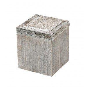 Διακοσμητικό ξύλινο κουτί με σχέδια 12x12x14 εκ