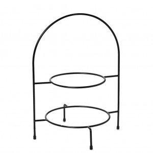 Βάση πιάτων δύο ορόφων μεταλλική σε μαύρο χρώμα 29x27x39 εκ