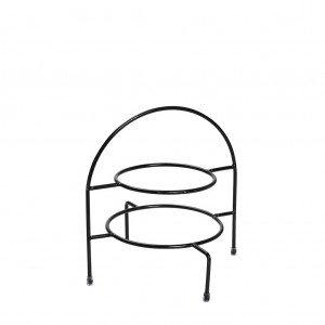 Βάση πιάτων δύο ορόφων μεταλλική σε μαύρο χρώμα 22 εκ