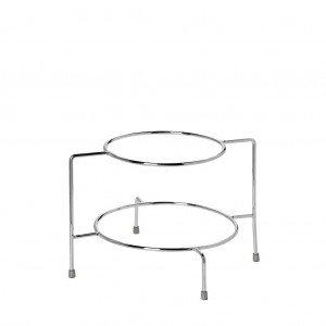 Βάση πιάτων δύο ορόφων μεταλλική σε ασημί χρώμα χωρίς λαβή 29x28x19 εκ