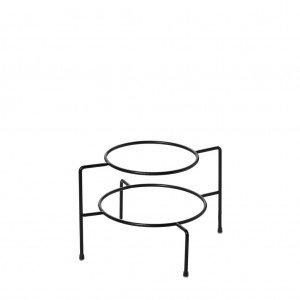 Βάση πιάτων δύο ορόφων μεταλλική σε μαύρο χρώμα χωρίς λαβή 22x22x13 εκ