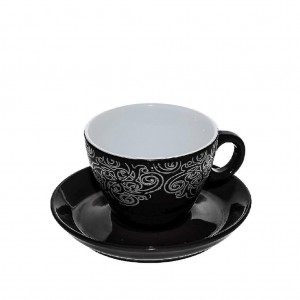 Vienna vintage φλυτζάνι καπουτσίνο σε μαύρο χρώμα σετ των έξι τεμαχίων 9x7 εκ
