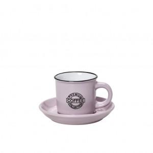 Coffee φλυτζανάκι με πιατάκι για εσπρέσο σε ροζ απόχρωση σετ των δώδεκα τεμαχίων 6x11 εκ