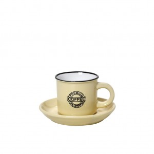 Coffee φλυτζανάκι με πιατάκι για εσπρέσο σε κίτρινη απόχρωση σετ των δώδεκα τεμαχίων 6x11 εκ