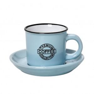Coffee φλυτζανάκι με πιατάκι για καπουτσίνο σε γαλάζια απόχρωση σετ των έξι τεμαχίων 9x14 εκ