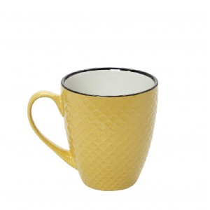 Cookie delight κούπα σε κίτρινη και κρεμ απόχρωση με μαύρο στόμιο σετ των έξι τεμαχίων 8x10 εκ