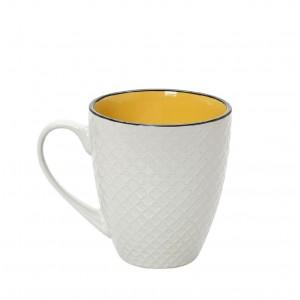 Κούπα Cookie delight σε κρεμ και κίτρινο χρώμα με μαύρο στόμιο σετ των έξι τεμαχίων 8x10 εκ