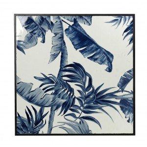 Boho μεταλλικός πίνακας με μπλε φύλλα 83x3x83 εκ
