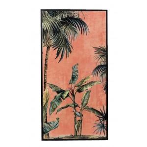 Boho μεταλλικός πίνακας κόκκινος με φοίνικες 42x3x82 εκ