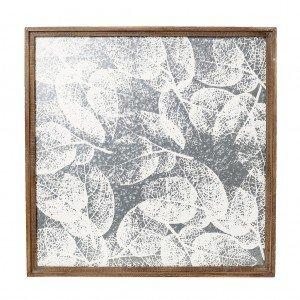 Ξύλινος πίνακας με ασημί φύλλα 72x4x72 εκ