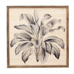 Boho ξύλινος πίνακας με μπλε φύλλα 83x4x83 εκ