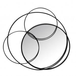 Minimal καθρέπτης μεταλλικός με μαύρους κύκλους 69x5x66 εκ