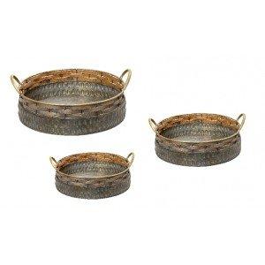 Ethnic δίσκοι στρογγυλοί από τσίγκο σετ τριών τεμαχίων σε διαφορετικά μεγέθη