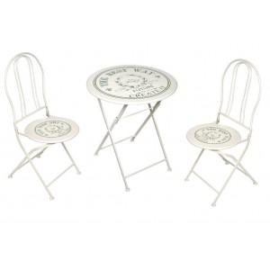 Σετ vintage τραπεζάκι με δύο καρέκλες με τύπωμα σε κρεμ απόχρωση