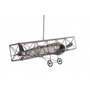 Κρεμαστό διακοσμητικό μεταλλικό αεροπλάνο με αλυσίδα σε μαύρο χρώμα 78x70x25 εκ