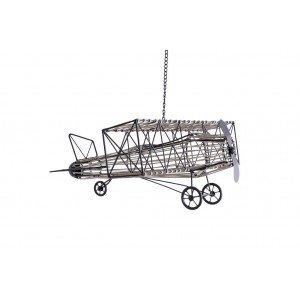 Κρεμαστό διακοσμητικό μεταλλικό αεροπλάνο με αλυσίδα σε μαύρο χρώμα 58x53x24 εκ