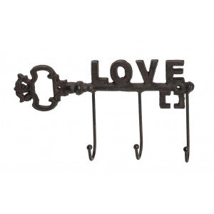 Vintage κρεμάστρα κλειδί με την λέξη Love σετ των τεσσάρων τεμαχίων 27x5x14 εκ