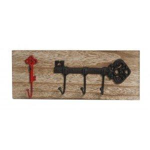 Επιτοίχια ξύλινη κρεμάστρα με κλειδιά σε κόκκινο και μαύρο χρώμα σετ των τεσσάρων τεμαχίων 40x7x15 εκ