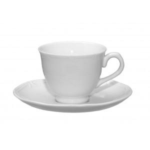 Classy φλυτζάνι πορσελάνινο με πιατάκι σε λευκό χρώμα σετ των έξι τεμαχίων 7x6 εκ