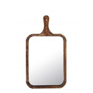 Boho ξύλινος καθρέπτης ορθογώνιος με λαβή 49x26x2 εκ