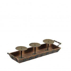 Retro κηροπήγιο από ξύλο 3 θέσεων με μεταλλικές λεπτομέρειες 51x15x10 εκ