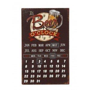 Μεταλλικό ημερολόγιο Beer o clock 25x40 εκ