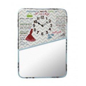 Μεταλλικό ρολόι τοίχου με καθρέπτη 40x55 εκ