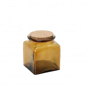 Δοχείο αποθήκευσης από γυαλί σε καφέ χρώμα με καπάκι από φελλό σετ των έξι τεμαχίων 8x9 εκ