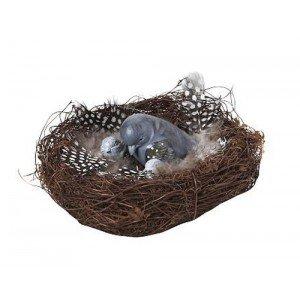 Πασχαλινό διακοσμητικό φωλιά με πουλάκι σετ των τεσσάρων τεμαχίων 9x6 εκ